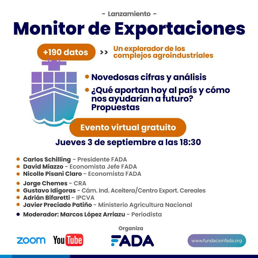 Invitación Evento Virtual Monitor Exportaciones FADA - Gratuito